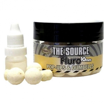 Бойлы Dynamite Baits Source White Fluro Pop Ups and dumbells